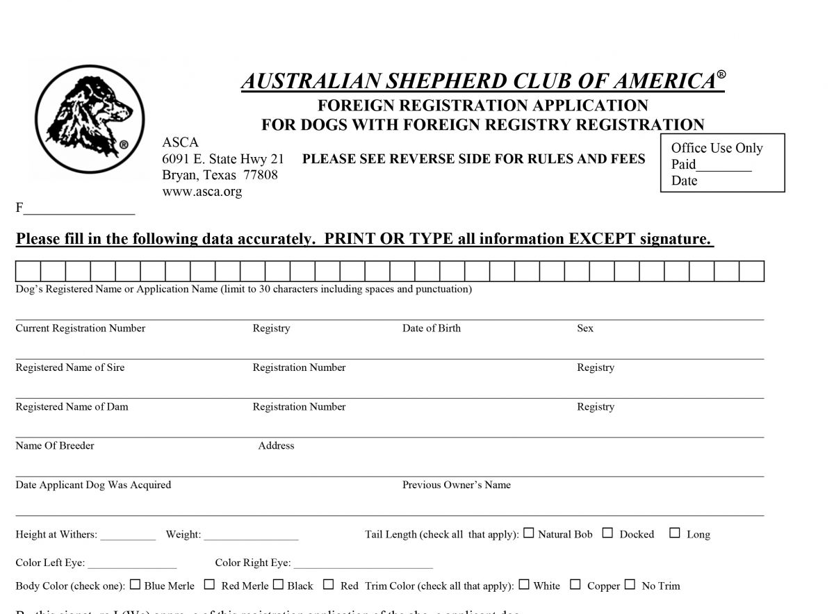 ASCA Foreign Registration/Fremdregistrierung - Yellowstone Australian Shepherds
