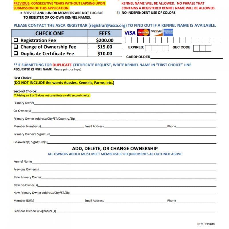 kennelname formular 800x800 - ASCA Kennelname registrieren