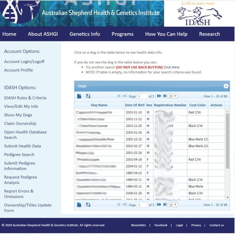health database search epi result 800x800 - ASHGI IDASH Anleitung - Wie trage ich meinen erkrankten Aussie ein?