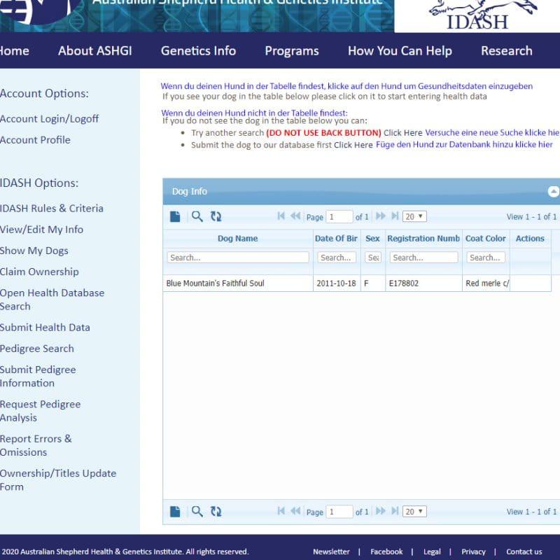 submit health data teil 3 800x800 - ASHGI IDASH Anleitung - Wie trage ich meinen erkrankten Aussie ein?